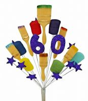 Painter and decorator 60th birthday cake topper decoration  (purple) - free postage
